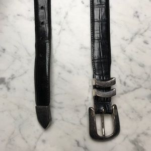 Onyx by Brighton Black Leather Silver Buckle Belt